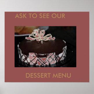 DESSERT MENU CAKES ART POSTER