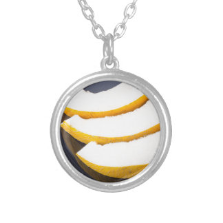 Dessert of sweet yellow melon slices silver plated necklace