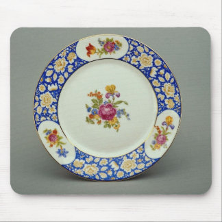 Dessert plate with colorful flower designs mouse pad