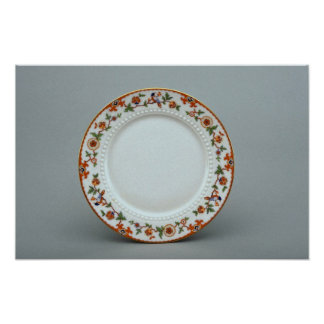 Dessert plate with colorful flower designs poster