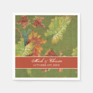 Dessert Reception Napkins Autumn Fall Grape Leaves Disposable Napkin