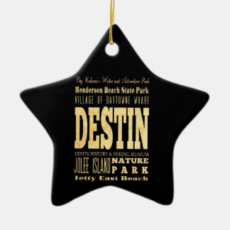 Destin City of Florida Typography Art Ceramic Ornament