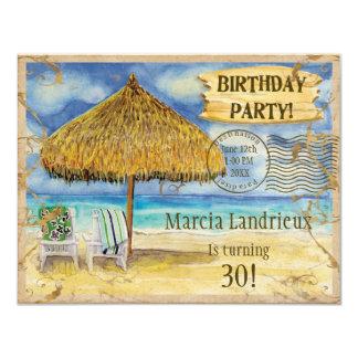 Destination Paradise Tropical Beach Birthday Party 11 Cm X 14 Cm Invitation Card