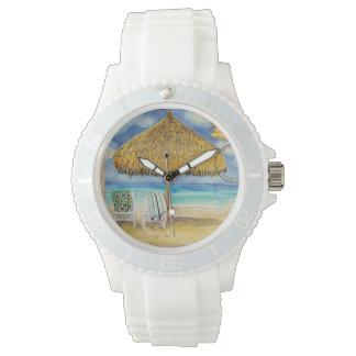Destination Paradise Tropical Beach Palappa Chairs Wristwatches