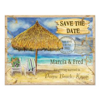 Destination Paradise, Tropical Beach Save the Date 11 Cm X 14 Cm Invitation Card
