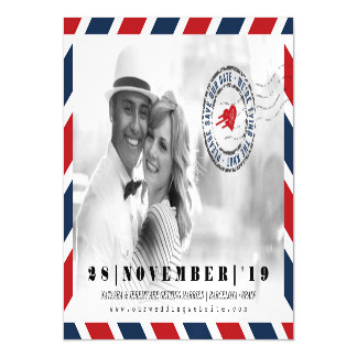 Destination Save The Date Airmail Post Photo Card Magnetic Invitations
