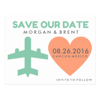 Destination Wedding Airplane Save Date Postcards