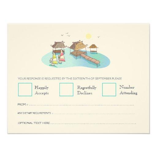 Destination Wedding Beach Windsurfing RSVP Cards 11 Cm X 14 Cm Invitation Card