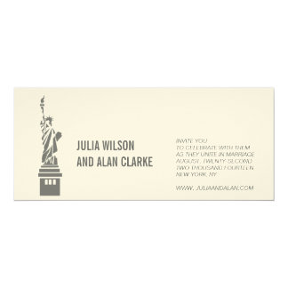 Destination Wedding Invitation New York Cream Grey