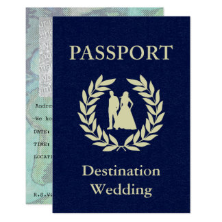 destination wedding passport 9 cm x 13 cm invitation card