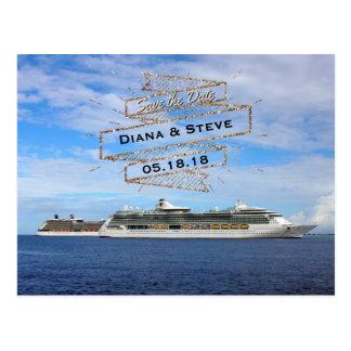 Destination Wedding Save the Date   Cruise Ships Postcard