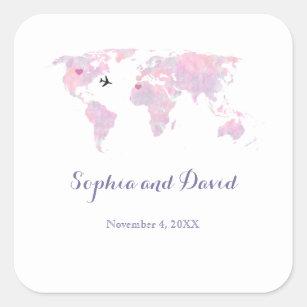 Destination Wedding Travel Watercolor World Map Square Sticker