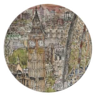 Destinations | Watercolor Big Ben & London Eye Plate