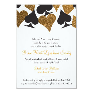 Destiny Las Vegas Casino Party Faux Gold Glitter 13 Cm X 18 Cm Invitation Card