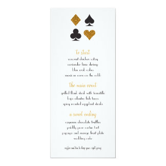 Destiny Las Vegas Wedding Menu Faux Gold Glitter Card