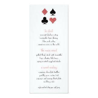 Destiny Las Vegas Wedding Menu Rose Gold Glitter Card