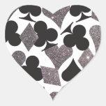 Destiny LasVegas Heart Sticker Faux Silver Glitter