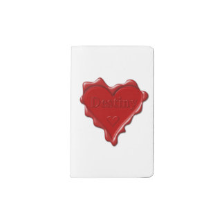 Destiny. Red heart wax seal with name Destiny Pocket Moleskine Notebook