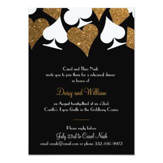 Destiny Vegas Rehearsal Dinner Faux Gold Glitter 11 Cm X 16 Cm Invitation Card