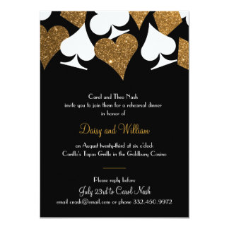 Destiny Vegas Rehearsal Dinner Faux Gold Glitter Card