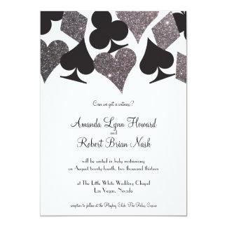 Destiny Vegas Wedding Invite Faux Silver Glitter