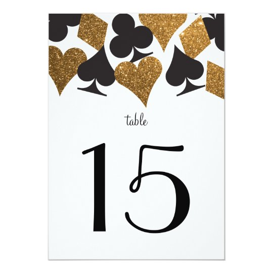 Destiny Vegas Wedding Reception Gold Table Number Card