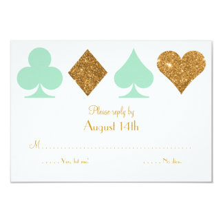 Destiny Vegas Wedding Reply Mint Green and Gold Card