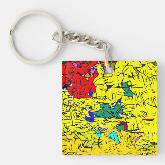 Detail abstract Double-Sided square acrylic key ring