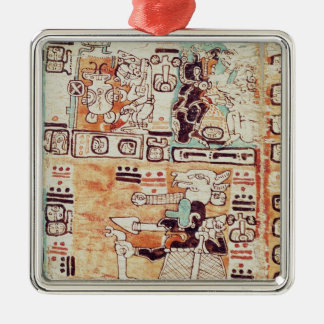 Detail from a Mayan Codex Silver-Colored Square Decoration