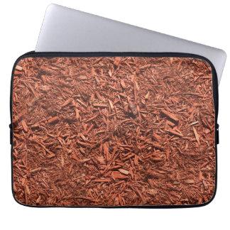detail image of red cedar mulch for gardener laptop sleeve