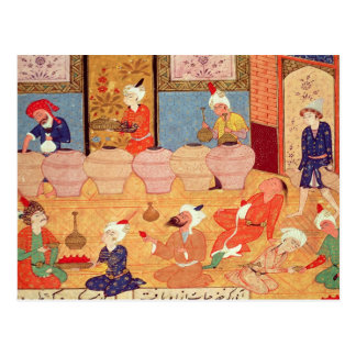 Detail of a banquet with musicians postcard