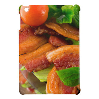 Detail of a plate of fried bacon and cherry tomato cover for the iPad mini