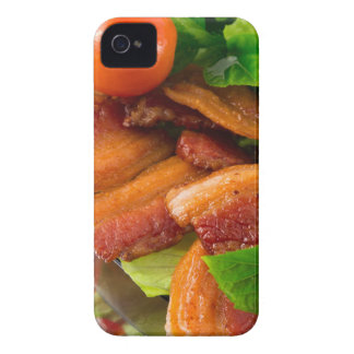 Detail of a plate of fried bacon and cherry tomato iPhone 4 Case-Mate case
