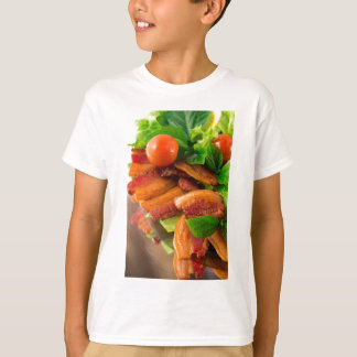 Detail of a plate of fried bacon and cherry tomato T-Shirt