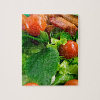 Detail of a plate with cherry tomatoes, herbs jigsaw puzzle