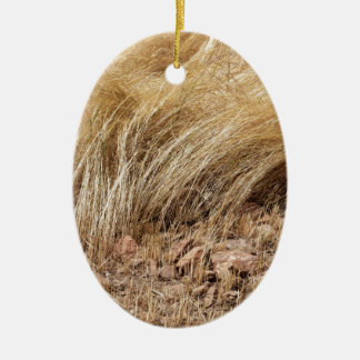 Detail of a teff field during harvest ceramic ornament