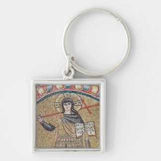 Detail of a Warrior Christ Silver-Colored Square Key Ring