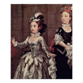 Detail of costumed players by William Hogarth Print