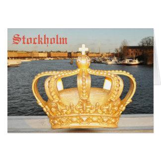 Detail of golden crown bridge in Stockholm, Sweden Card