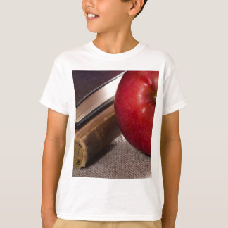 Detail of old books in hardcover and red apple T-Shirt