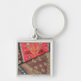Detail of two prayer rugs Silver-Colored square key ring