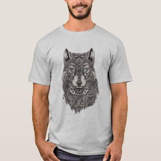 Detailed Abstract Wolf Head Illustration T-Shirt