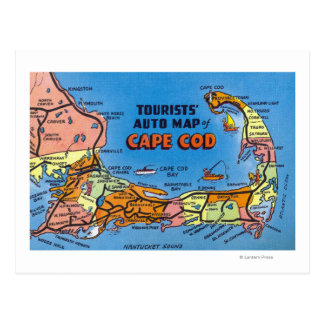 Detailed Auto Map of Cape Cod Postcard