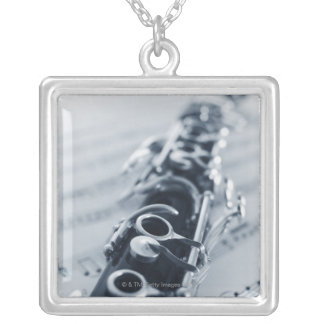 Detailed Clarinet Silver Plated Necklace