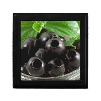 Detailed close-up view of the black olives gift box