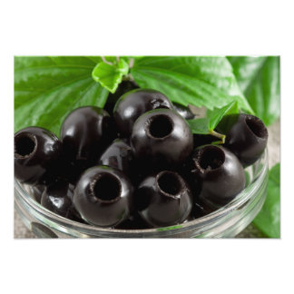Detailed close-up view of the black olives photo print
