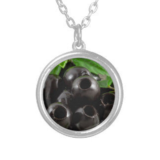 Detailed close-up view of the black olives silver plated necklace