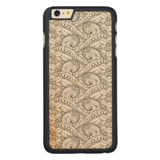 Detailed Floral Pattern Doodle Carved® Maple iPhone 6 Plus Case