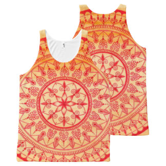 Detailed Hand Drawn Vibrant Red And Orange Mandala All-Over Print Tank Top