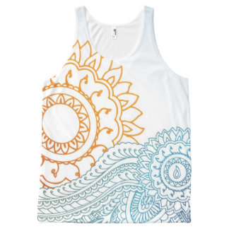 Detailed henna abstract sunrise All-Over print tank top
